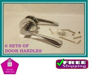 X-6-CHROME-ASTRID-Twisted-Door-Handle-SETS-Lever-on-Round-Rose-D18