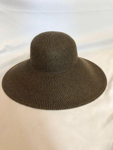 Eric Javits Bella Floppy Sun Hat Squishee Wide Brim Woven Brown for ... 5f0700483370