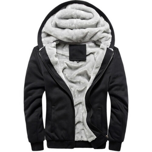 Sale Men Thick Warm Fleece Fur Lined Hoody Zip Up Winter Coat Jacket Sweatshirt