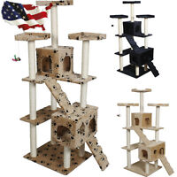 73 Cat Tree Condo Furniture Scratch Post Pet House Beige/navy/beige Paws