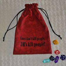 D&D Dungeons & Dragons game dice Guns don't kill DM handmade drawstring bag