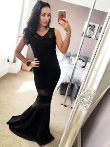 Quiz-Womens-Black-Mesh-Fishtail-Maxi-Evening-Dress-New-UK-STOCK-RRP-64-99