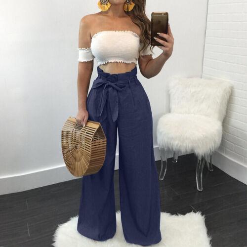 Women High Waist Bowknot Long Pants Wide Legs Baggy Oversize Trousers Plus Size