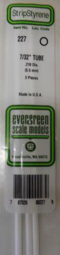 Evergreen Strip Styrene 227 3 Pieces of 7/32 TUBE.