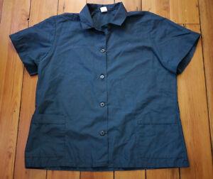Red kap navy blue cotton blend short sleeve button front for Blue cotton work shirts