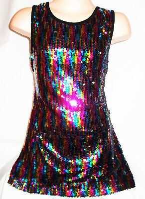 GIRLS SIXTIES SPARKLY BLACK WHITE GOLD SEQUIN DISCO DANCE PARTY MINI DRESS TOP