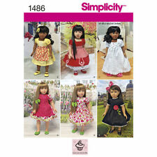 """Simplicity 1486 Vintage Style 18"""" Doll Clothes Sewing Pattern, New Uncut"""