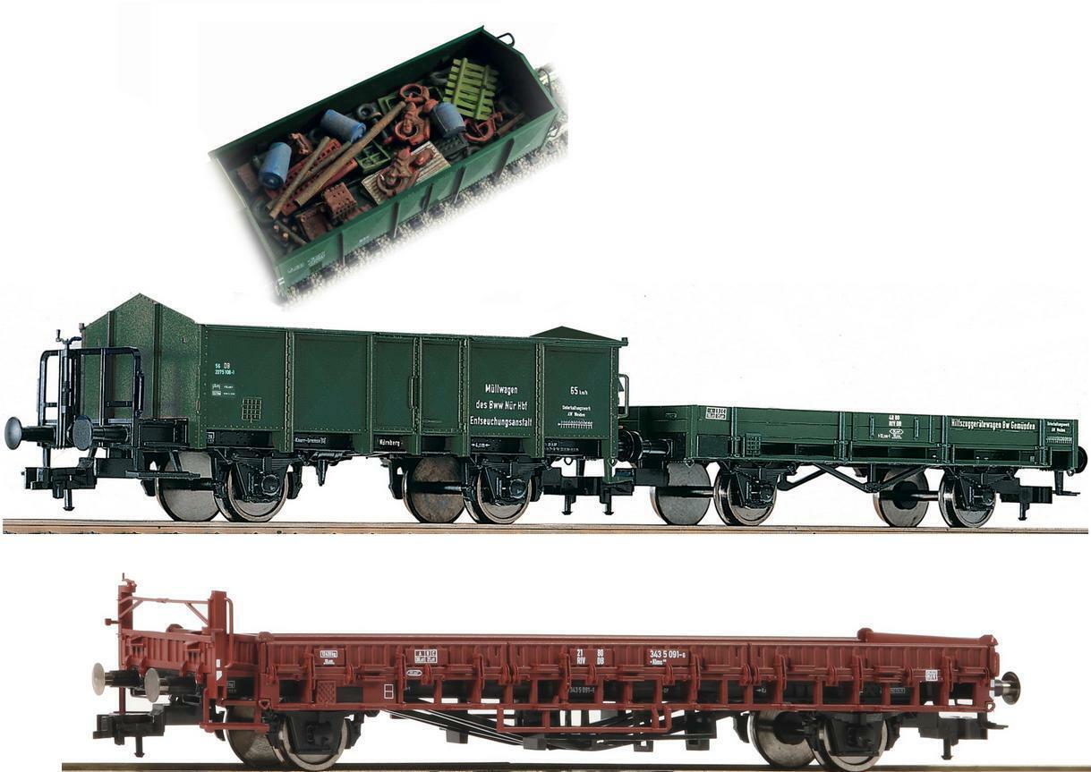 Fleischmann h0 591002 5257 02 hilfszug camión de basura + 2 vagones abiertamente DB ep.4 nuevo