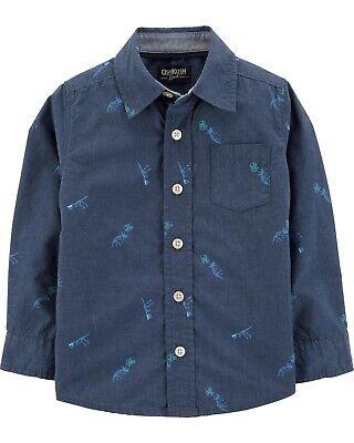 Whales NWT long sleeve OshKosh B/'Gosh Toddler Boys/' Button-Front Poplin Shirt