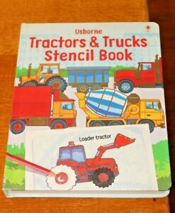 Usborne-Hardback-Tractors-amp-Trucks-Stencil-Activity-Book-Hard-Card-Pages