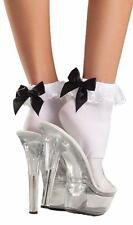 Ankle High Socks with Ruffle Lace Top Black Satin Bow Anklets Hosiery BW653