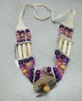Native Choker Wood, Bone Tube, Abalone, Beads, Deer Hide American