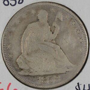 1858 Liberty Seated Half Dollar Good Condition #161989