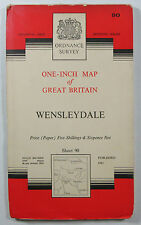 1961 old vintage OS Ordnance Survey seventh series one-inch Map 90 Wensleydale