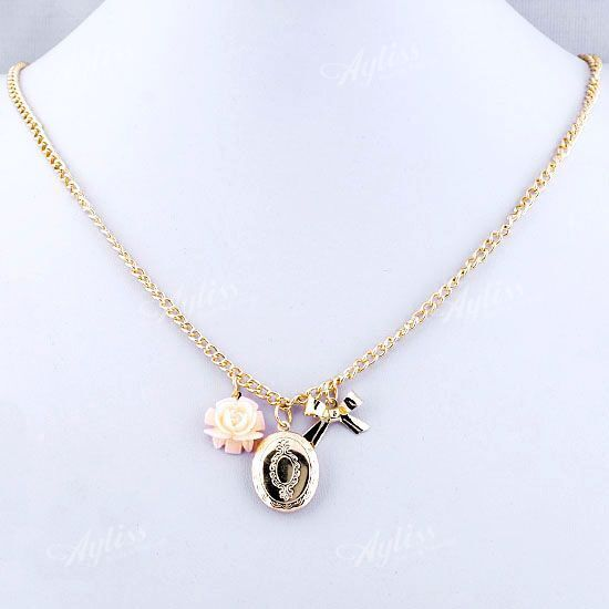 Flower Bowknot Golden Oval Dangle Bead Chain Necklace Vogue Girl's Gift Jewelry