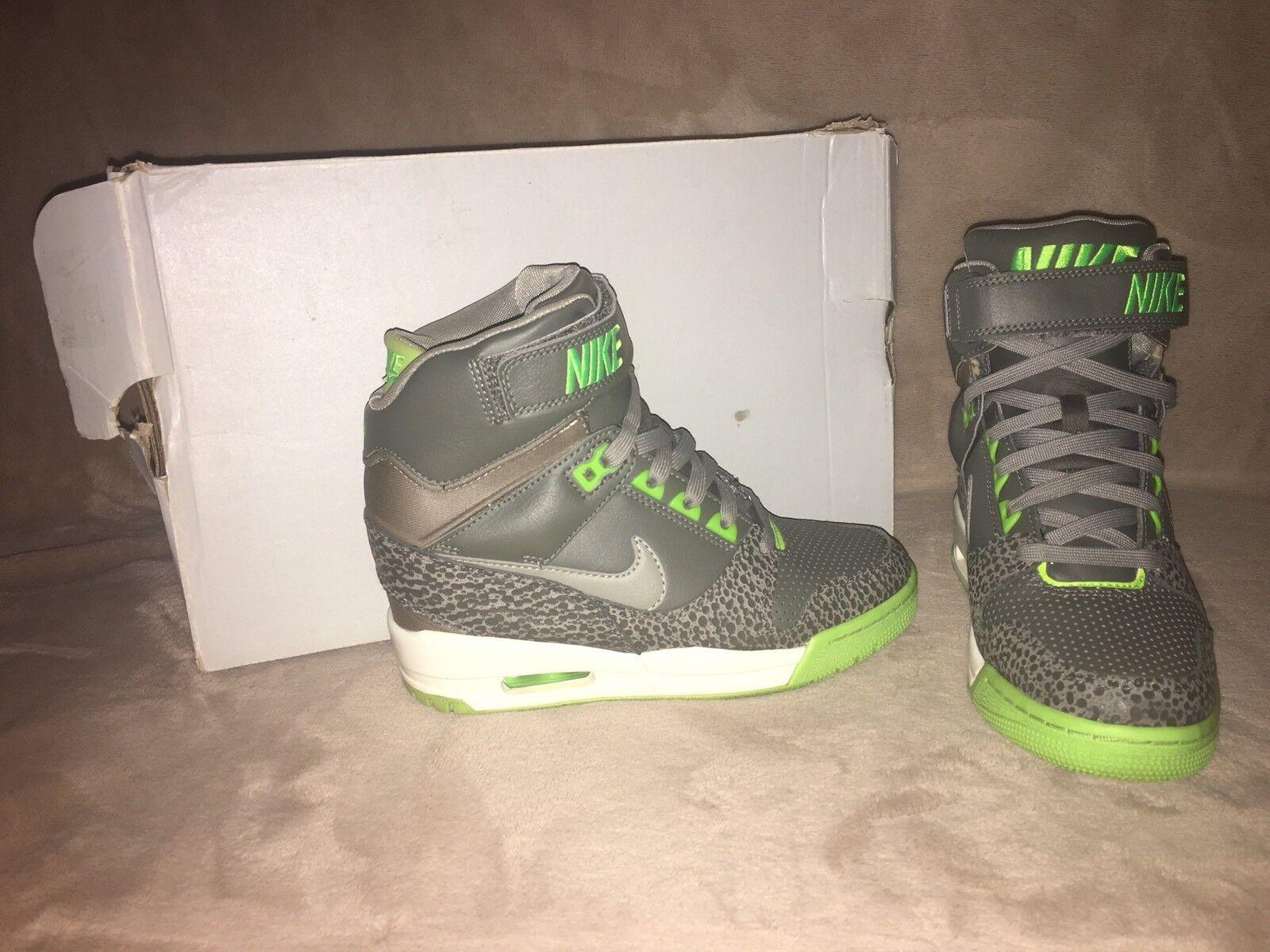 Nike Air Revolution Sky Hi Hidden Wedge Gray & Green Sz 6