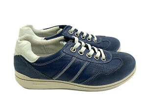 Ecco-Womens-Shoes-37-Blue-Suede-Leather-Lace-Up-Comfort-Sneakers