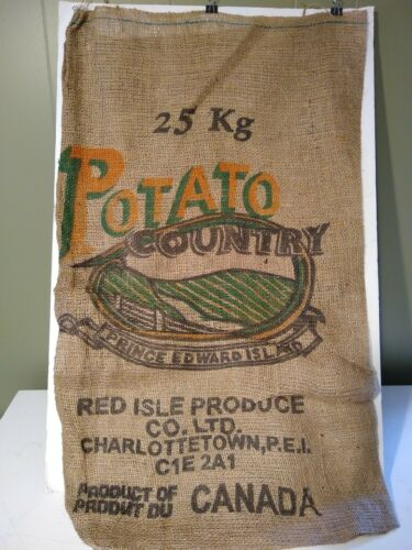"Burlap Potato Bag RED ISLE PRODUCE CO CHARLOTTETETOWN P.E.I CANADA 32 x 19/"""