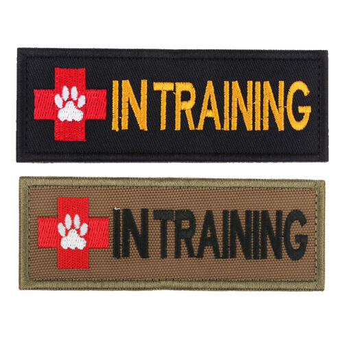 IN TRAINING Patch Embroidered Patch Armband Hook Loop Pet Vest Harness Tan