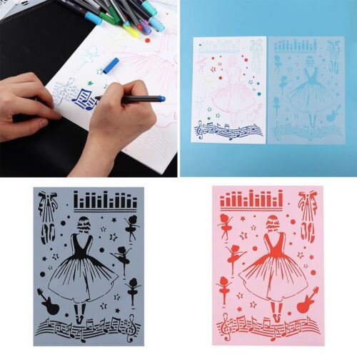 Stationery Hollow Ruler Scrapbooking Girls Plastic Stencils Painting Template