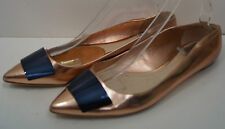 CHRISTIAN DIOR Rose Gold & Black Detail Pointed Toe Flat Evening Shoes EU41 UK8