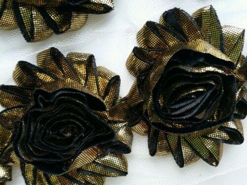"wholesale 2.5/"" shabby flower chiffon trim 1 yard GOLD// BLACK METALLIC shabby 10"