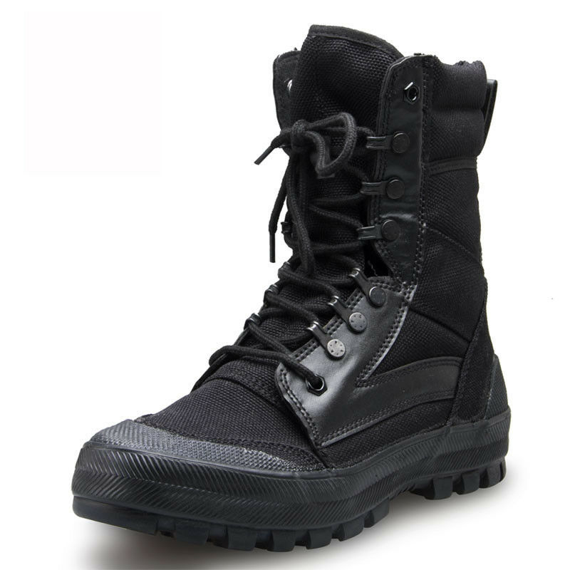 Men's Outdoor Army Tactical SWAT Canvas Boot Combat Hiking Hunting Training shoes