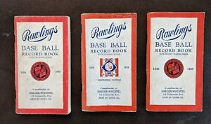 Lot-of-3-Vintage-Rawlings-Baseball-Record-Book-1938-1939-1940-VG-EX-Complete