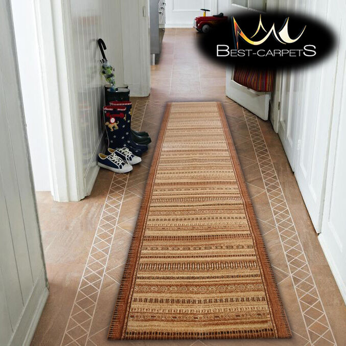 Spessa Hall RUNNER ottimale Melisa Beige Larghezza 67-150 cm A Righe Extra Lungo Rugs