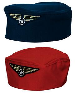 Air Hostess Costume Hat Ladies Stewardess Aviation Cabin Crew Fancy Dress Hen Ac