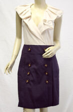 $250 BCBG DARK DEWBERRY COMBO (MTZ6C940) RUFFLE BUTTON HIGH WAIST DRESS NWT 8