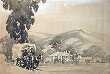 CLAUDE Fibbia ri RSMA (1905-1973) paesaggio rurale disegno.