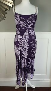 PHASE-EIGHT-Dress-Purple-Floral-Silk-Devore-Size-12-Bias-Cut-Special-Occasion