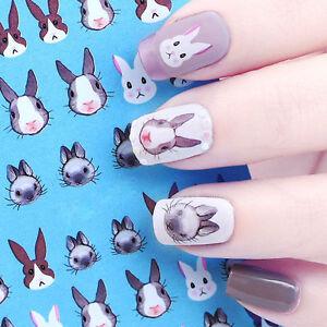 Rabbit-Water-Decal-Nail-Art-Transfer-Sticker-Kawaii-Bunny-Tips-Decoration-DIY