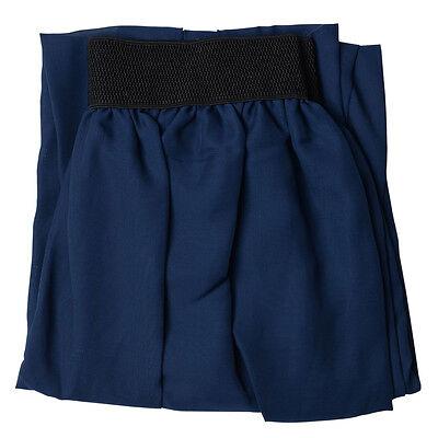Women Double Layer Chiffon pleated Dresses Retro Long Elastic Waist Maxi Dress