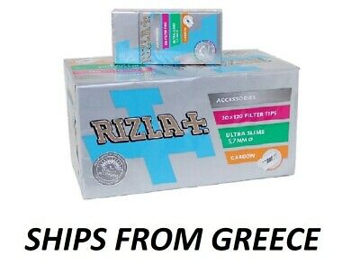 20 PACKETS RIZLA 5.7mm Carbon SmootULTRA SLIM ROLLING FILTER 120 TIPS PER PACKET