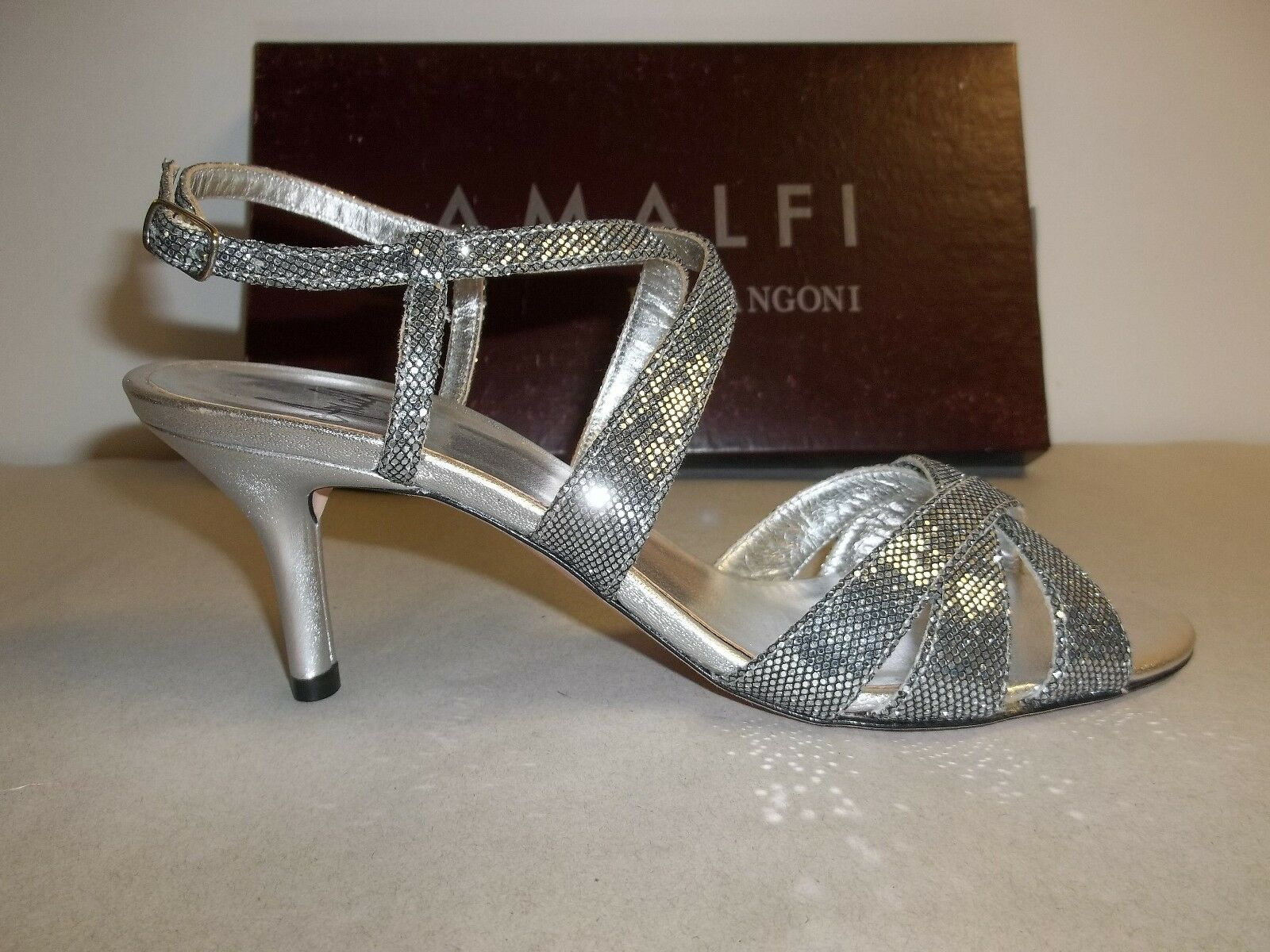 Amalfi by Rangoni Größe 6 M Colle Silver Glitter Heels Sandales NEU Damenschuhe Schuhes