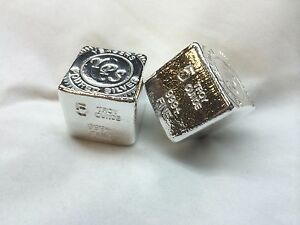 5oz-Hand-Poured-999-Silver-Bullion-Bar-034-Cube-034-by-Yeager-039-s-Poured-Silver-YPS