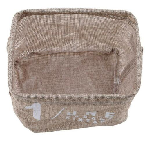 Storage Bin Organizer Basket Cube with Handles Large Cotton Linen HA