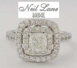 598dd1524888e4 Neil Lane 1.20 ct 14K White Gold Cushion Cut Diamond Double Halo ...