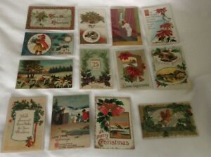 Lot-of-13-Vintage-Christmas-Postcards-Early-1900s-Used