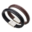 Mens-Fashion-Black-Genuine-Leather-Silver-Stainless-Steel-Charm-Bracelet-Bangle miniatura 2