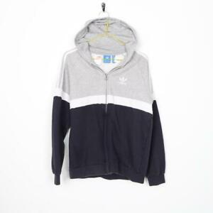 Vintage-Kids-ADIDAS-ORIGINALS-Small-Logo-Zip-Up-Hoodie-Grey-15-16-Years