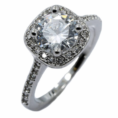 18K White Gold Plated Wedding Band Square Cubic Zirconia Ring