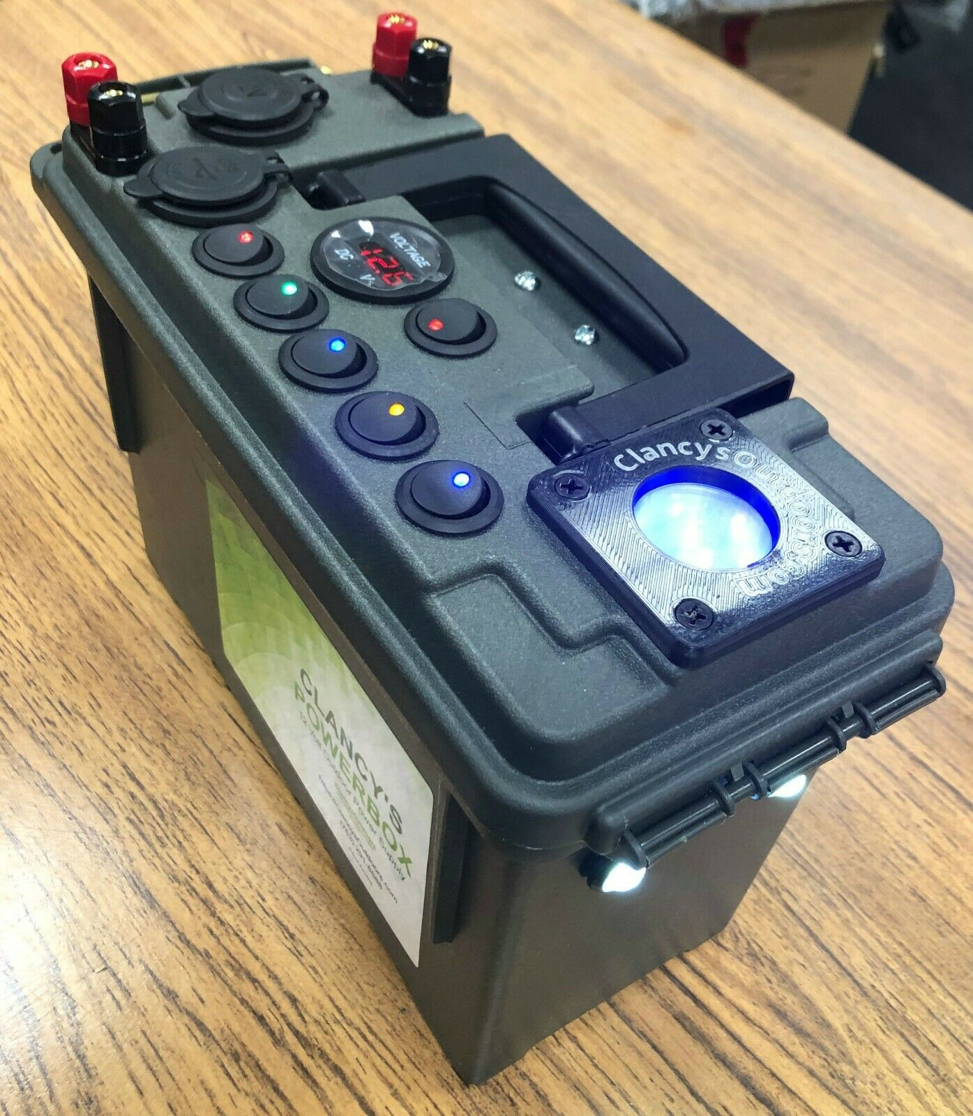 Clancy's PowerBox 12 Volt Battery Box With Ice Jig Glow Cup.