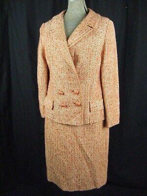 Kompetent Mandi California Vtg 60er Jahre Orange / Elfenbein Wolljacke & Skirt-bust 36/ Verkaufspreis
