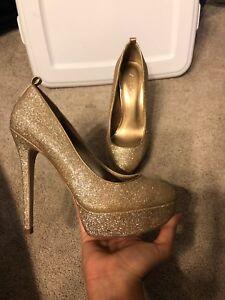 516272c5f777 WOMEN'S ALDO GOLD SPARKLE GLITTER PLATFORM PUMPS HEELS DRESSY SIZE ...