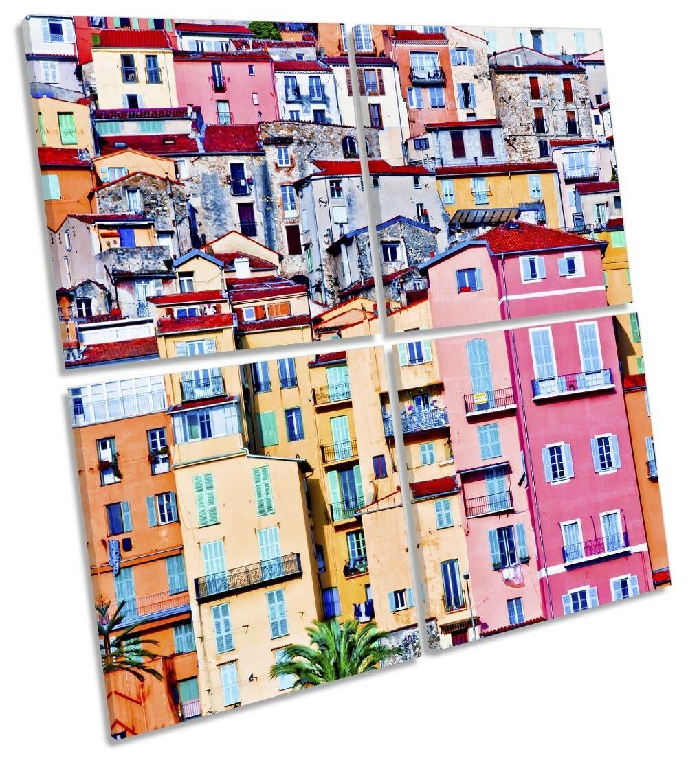 Menton France Old Town Picture MULTI CANVAS WALL ART Square