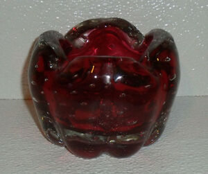 Murano-Art-Glass-Cranberry-Bowl-Ashtray-Bullicante-Vtg-4-5-034-Mid-Century