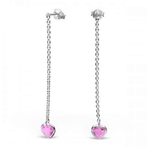 Boxed 925 Sterling Silver Dangly Pink Cubic Ziorconia Heart Stud Earrings